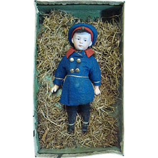 Gebruder Heubach Character Closed Mouth Pouty in Original Presentation Box, Originally Dressed, Special Provenance