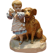 Large Robinson & Ledbetter Porcelain Dual Figurine of Child and Her Dog