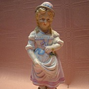 7-3/4 Inch Early German Antique Porcelain Figurine of Young Girl