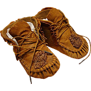 Authentic Antique Leather Moccasin Style Doll Shoes
