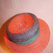 Old Three-Color Straw Hat for Antique Doll
