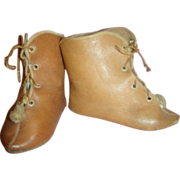 Fabulous Sz 12 Antique French Leather Doll Boots, Depose, Alart Symbol