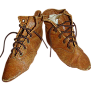 Fabulous Antique Leather Boots for Large China or Paper Mache Doll
