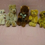 Lot of Five (5) Tiny Vintage Jointed Mohair Bears