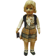 16 Inch Chad Valley Cloth Child Doll with Glass Eyes, Original with Tag