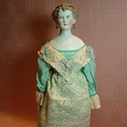 Lovely Antique Parian Lady Doll with Unusual Hairdo, Ribbon