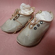 Antique Off-White German Doll Shoes with Front Laces, Sz 6