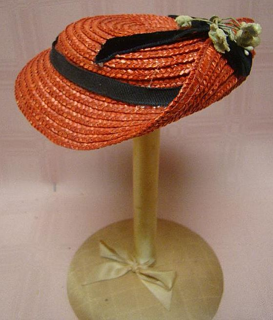 Vintage Red Straw Hat with Black Ribbon and Cloth Floral Trim