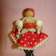 3-3/4 In. Vintage Wooden Doll, Original Costume, Jointed
