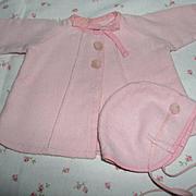 "Darling Effanbee 11"" Dy-Dee Ette Factory Original Pink Twill Coat and Bonnet Set"