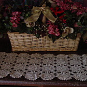 Vintage Tan Crochet Lace Doily Runner