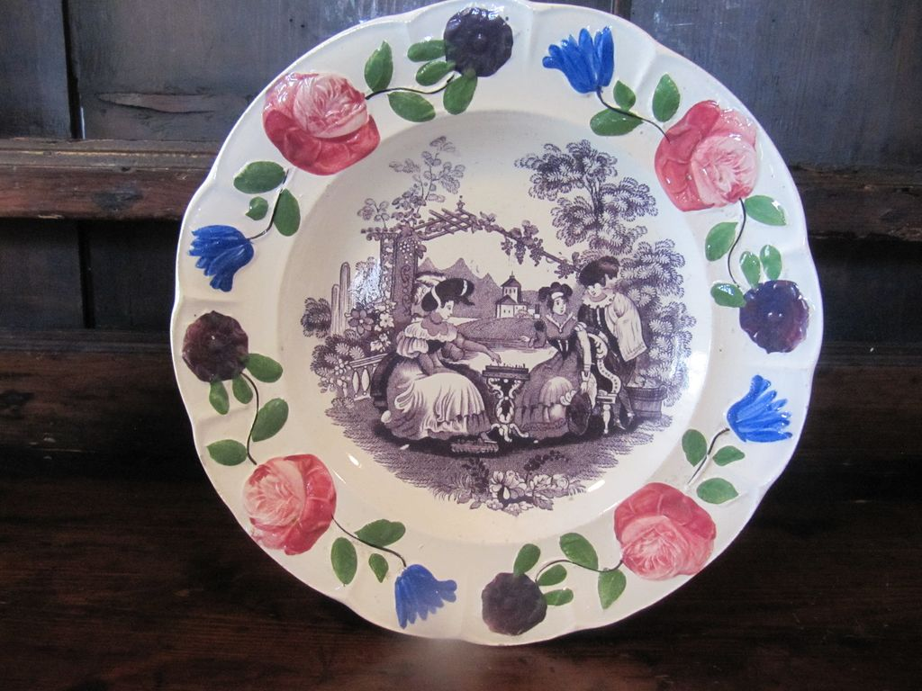 "Staffordshire Transferware Plate Adams ""Chess Players'"