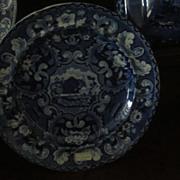 Staffordshire Transferware Plate Beehive and Vases  Dark Blue
