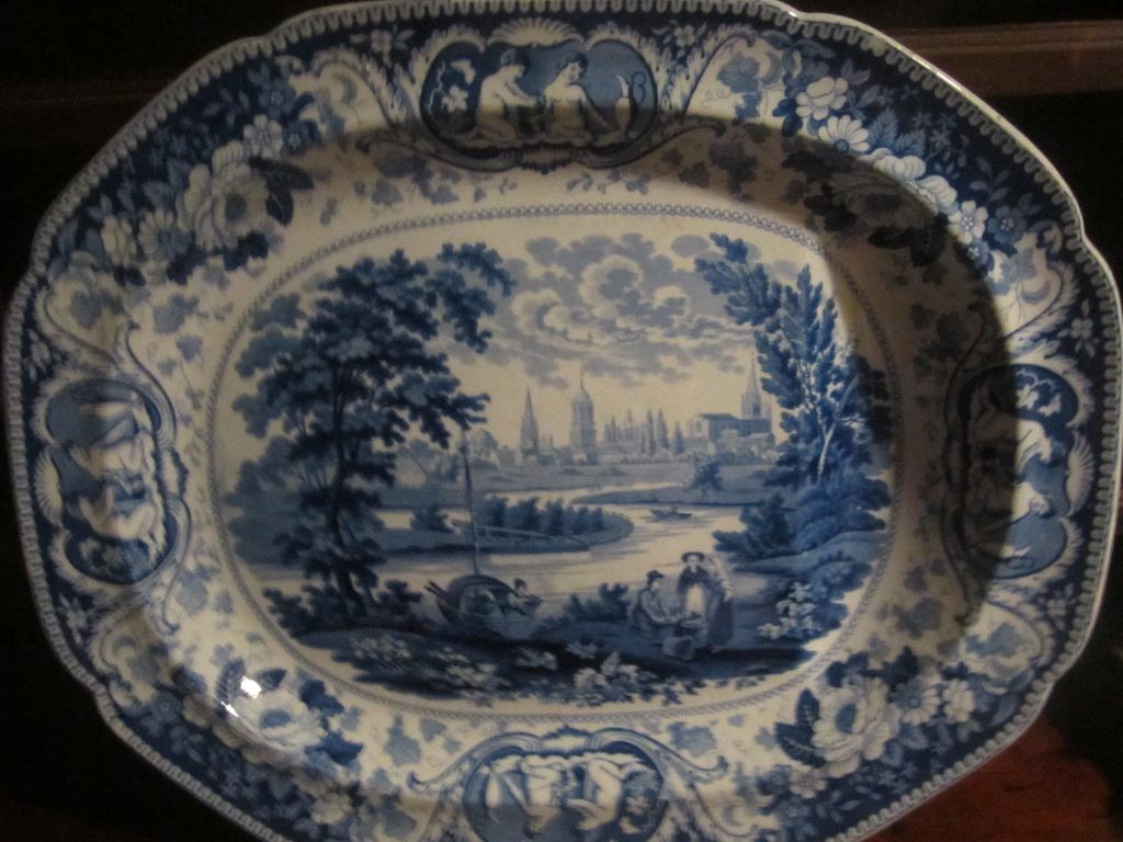 """Staffordshire Transferware Huge platter """"Oxford"""", Well and Tree"""