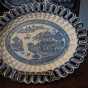 Staffordshire Transferware Reticulated plate TURNER c.1800