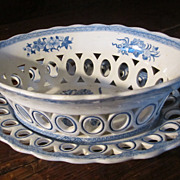 SPODE Staffordshire Transferware Reticulated Basket&Undertray