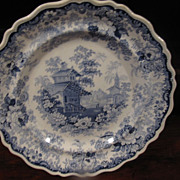 Staffordshire Transferware Scalloped Edge Dinner plate: J Stubbs