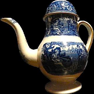 Antique Staffordshire Transferware Coffee pot  Woodman pattern c. 1825 Blue and White Spode