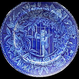 Staffordshire Transferware Dark Blue  Plate 'Cupid Behind Bars'  Wood  c.1828