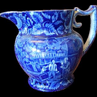 Antique Dark Blue Staffordshire Transferware Pitcher  C. 1825  Rare