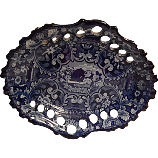 """Antique Staffordshire Transferware Dark Blue """"Beehive and Vases""""  Reticulated Chestnut basket stand  Stevenson and Williams  C. 1825"""