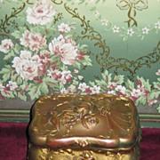 EXQUISITE Victorian Gilded Embossed Brass Trinket Box!
