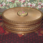 Sale~EXQUISITE Fancy Vintage Oval Trinket Box with Enamel Medallion!