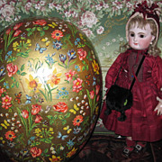 RARE Vintage German Lithograph Egg Candy Container Half!