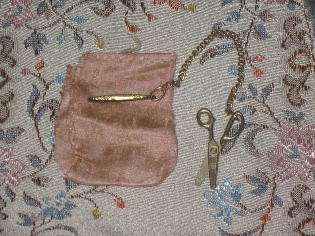 SWEET Tiny Miniature Fashion Doll Chatelaine Scissors w/Silk Pouch