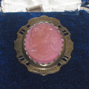 DRAMATIC Antique Victorian Pink Cameo Brooch with Jeweler's Box