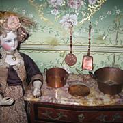 FABULOUS 4 Piece Vintage Miniature Copper Toy Pots & Utensil Set