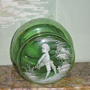 LOVELY Old Mary Gregory Green Glass Powder Jar~AS FOUND