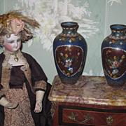 EXQUISITE Rare Pair of Old Miniature Oriental Cloisonne Enamel Vases/Urns