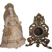 EXQUISITE French Victorian Miniature Vanity Mirror with CHERUB MOTIF!