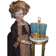 ORNATE Rare Miniature French Victorian Ormolu Caddy with Blue Opaque Glasses!