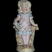 EXQUISITE Miniature German Victorian Porcelain Figurine of Fancy Little Girl!