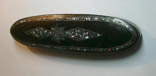 Rare Antique  Eyeglasses Case MOP Inlaid Paper Mache