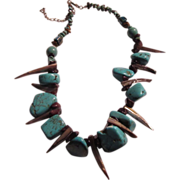 Native American Necklace Turquoise & Abalone Horns