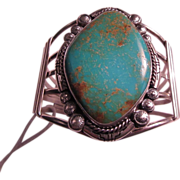 Native American Sterling & Turquoise Signed Bracelet