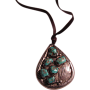 Native American Sterling Silver Turquoise Pendant Pin Necklace