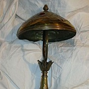 Art Nouveau Brass Lamp & Shade Inset Glass