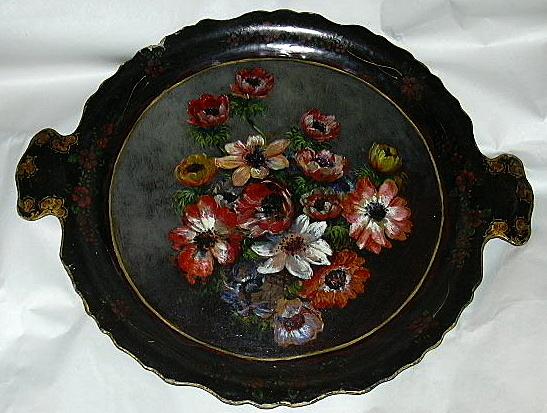 19th C Papier Mache Platter Hand Painted Flowers Painting Rare Decorative Art