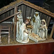 Nativity Japan 6 Piece Set Holy Family Mary Joseph Infant Jesus 3 Kings Stable