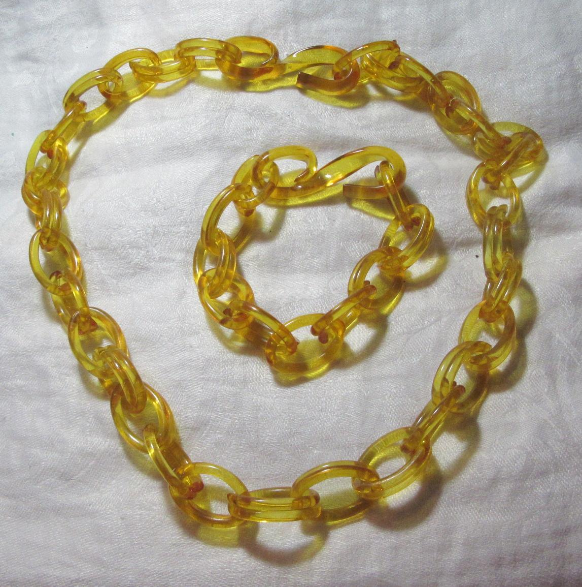 Golden Yellow Vintage Lucite Chunky Chain Necklace & Bracelet Set Fine Vintage Costume Jewelry