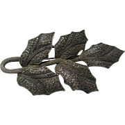 Fahrner Original Gold Wash Sterling  Marcasites  Leaf Brooch Ornate Metalwork Fine Jewelry
