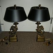 Pair Heavy Brass Elegant Lion Statue Lamps
