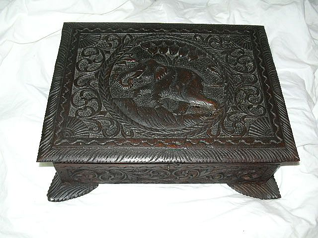 Antique English India Influence Carved Wood Box