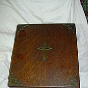 Antique Wood Religious Box With Cross