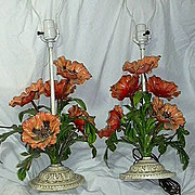 Pair Red Poppy Tole Painted Flower Lamps