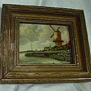 Windmill Miniature Celluloid Framed Art